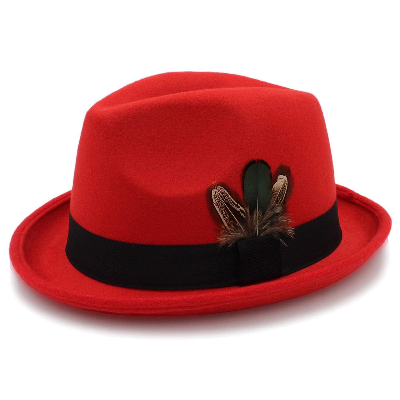 KKONION Panama Hat Women Wool Fedora Hats for Elegant Lady Roll Up Brim Feather Decorative Church Hat Male Jazz Cap