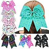 7'' Large Unicorn Cheer Bows Girls Hair Bows With Elastic Band For Teen Girls (8pcs-Cheer Bows)