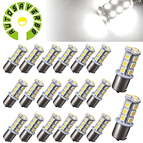 AUTOSAVER88 [20 Pack] Superbright 1156 LED Light Bulb White BA15S 5050 [18 SMD] Car Trailer LED Light 7503 1141 (1156 Led Bulb Replacement)