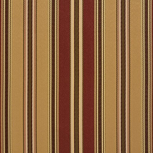 B0190A Gold Green and Burgundy Various Size Striped Silk Satin Look Upholstery Fabric by The Yard ()