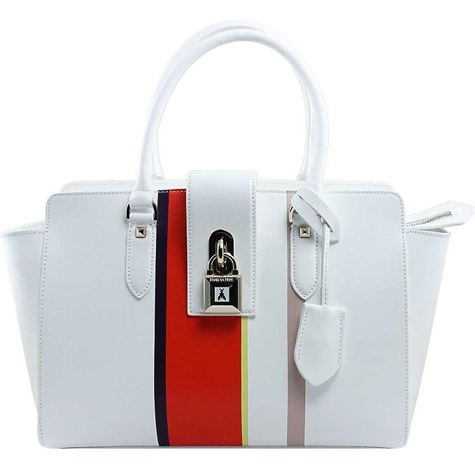 PATRIZIA PEPE Borsa shopping a mano con lucchetto in pelle saffiano BIANCO ORANGE   Amazon.it  Scarpe e borse a9c12dddafb