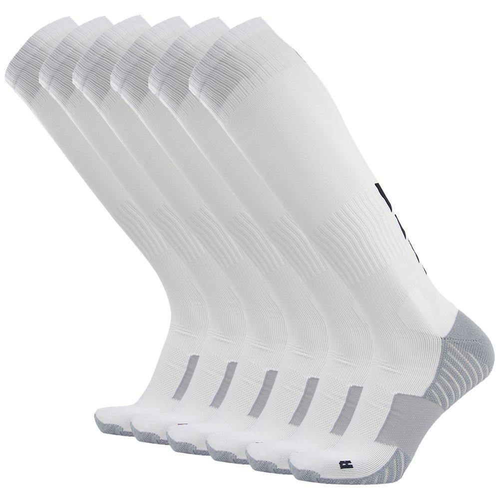 サッカーソックス、3streetユニセックスアスレチック圧縮ソックス1 / 2 / 3 / 4 / 6 / 10ペア B01EA7TKJU L(Fit For US 10-14)|03#6-Pairs white 03#6-Pairs white L(Fit For US 10-14)