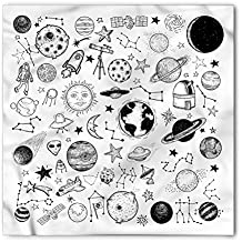 Ambesonne Boy's Bandana, Planets Asteroids Cosmos, Unisex Head and Neck Tie