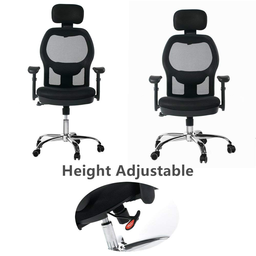 Winmi High Back Mesh Ergonomic Office Chair with Headrest and Armrest, 360 Degree Swivel Executive Computer Desk Task Chair,Back Lumbar Support, Black by Winmi (Image #4)