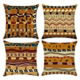 Easternproject African Ethnic Pattern Cotton Linen Throw Pillow Case Square Decorative Cushion Cover 18'' x 18'' Set of 4 (Indians Style)