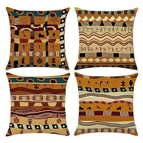 - Easternproject African Ethnic Pattern Cotton Linen Throw Pillow Case Square Decorative Cushion Cover 18'' x 18'' Set of 4 (Indians Style)