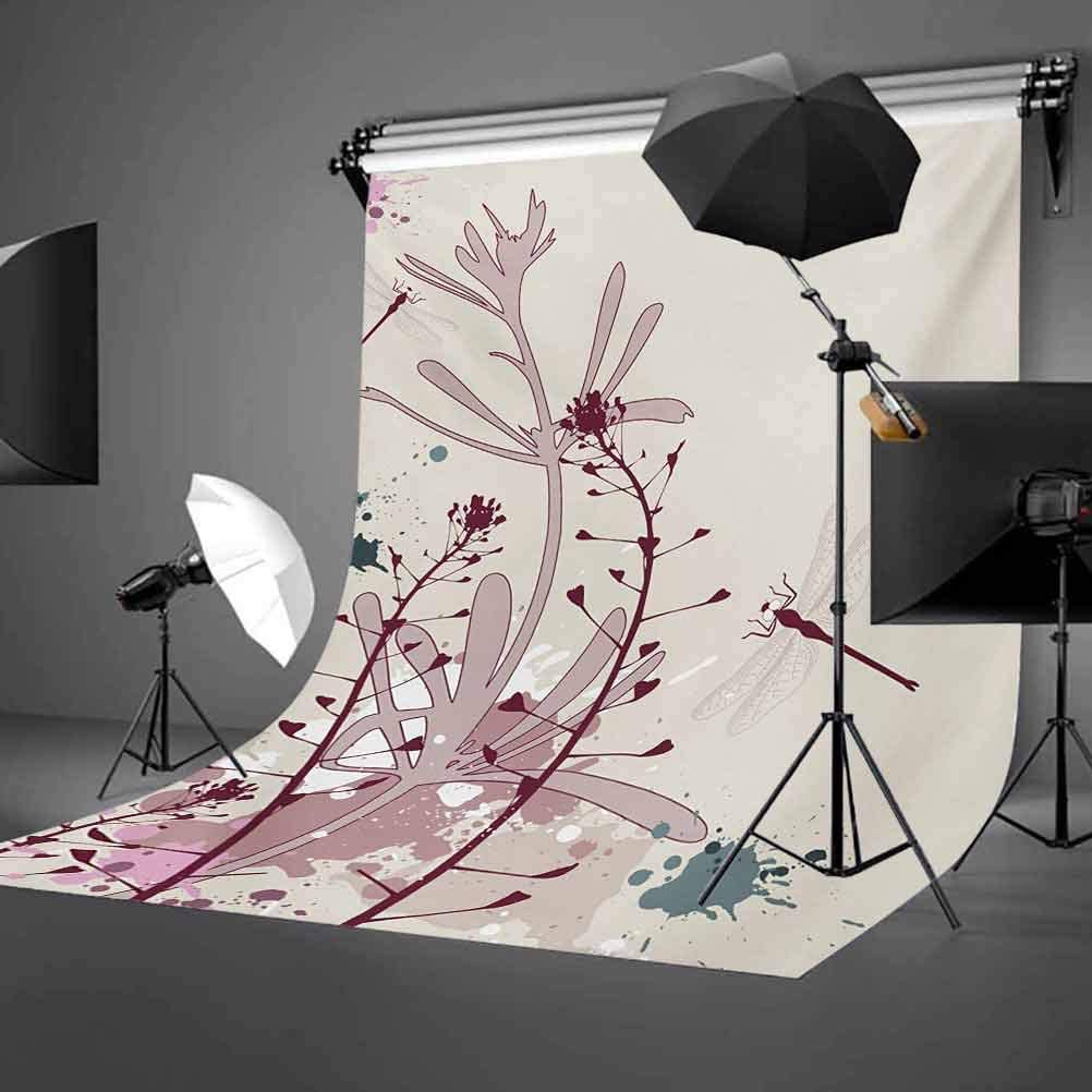 Dragonfly 10x15 FT Photo Backdrops,Grunge Style Design Flowers Leaves and Bugs Flies Wings Image Background for Baby Birthday Party Wedding Vinyl Studio Props Photography Pale Pink Burgundy and Blue