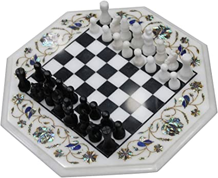 King Size 2.5 Inches Chess Table Top Mosiac Art White Coffee Table Inlaid with Multi Gemstone It can be used in Your Living Room