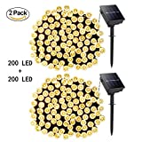 USA NEON KING Neon King USA Solar Powered String Lights, 66 FT 200 LED Waterproofing Garden Landscape Lamp For Christmas Party Lawn Wedding Outdoor 2pack (Warm Light)