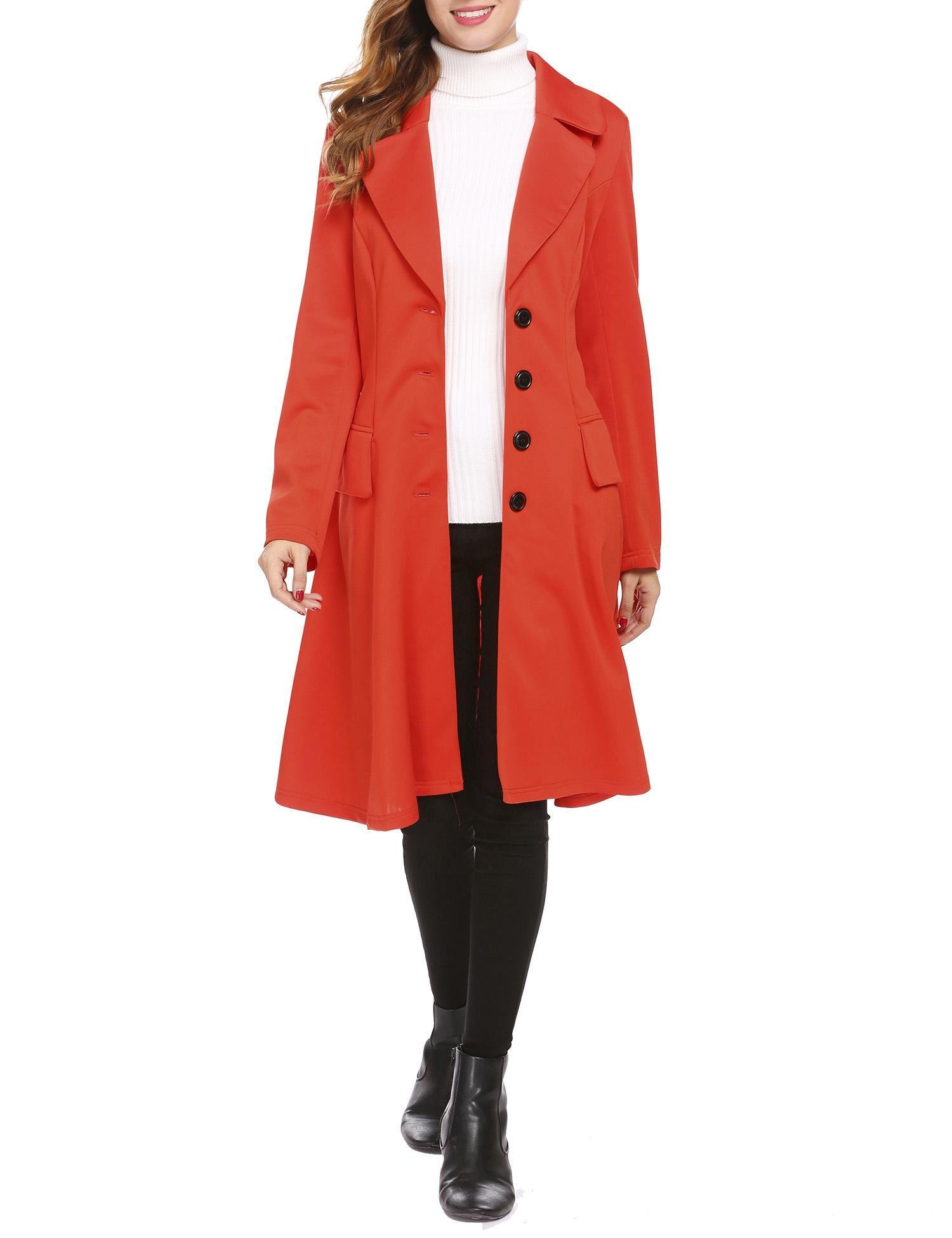 SE MIU Long Trench Coat Women Turn Down Neck Single Breasted Pea Coat Overcoat With Pocket, Red, Small