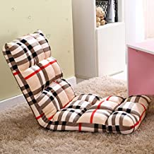 Selani™ Adjustable Floor Chair Folding Couch Sofa Six-position Multiangle Lazy Man Chair Soft Cushion Tatami Foldable Recliner, Checked