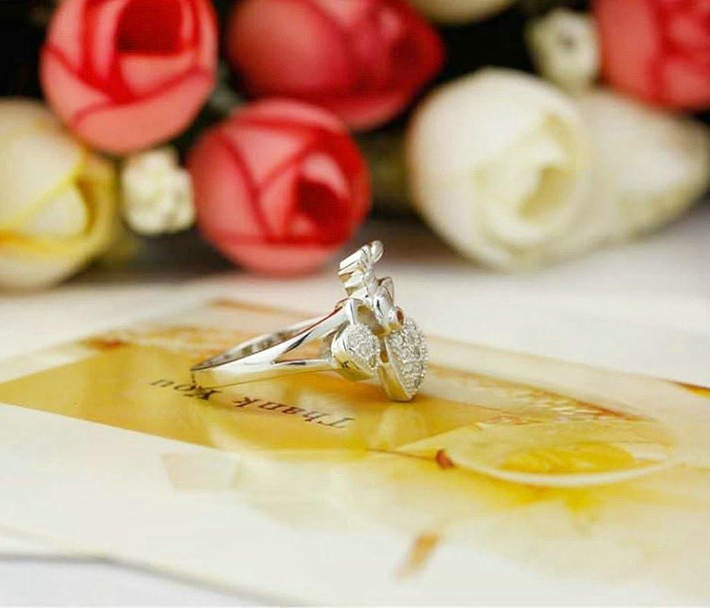 Daesar Sterling Silver Rings Wedding Bands for Women Strawberry Heart White Size 5