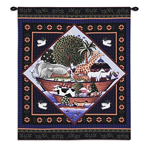 Noah'S Ark By Coco Dawley - Woven Tapestry Wall Art Hanging For Home Living Room & Office Decor - Child Art Children'S Characters And Scenes Noah'S Ark Biblical Story - 100% Cotton - USA (Hanging Ark Noahs)