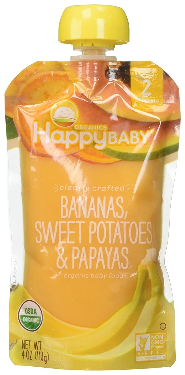 Happy Family Stage 2, Bananas, Sweet Potatoes and Papaya, 4 Ounce, 8 count