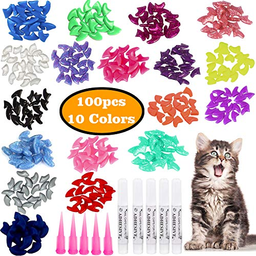VICTHY 100pcs Cat Nail Caps, Colorful Pet Cat Soft Claws Nail Covers for Cat Claws with Glue and Applicators Medium