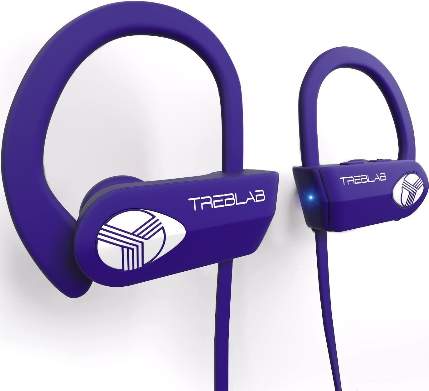 TREBLAB XR500 Bluetooth Headphones, Wireless Earbuds for Sports. IPX7 Water Resistant, Sweatproof. Noise Cancelling Earphones w Mic. Purple Renewed