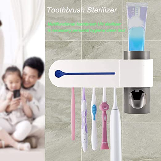 Toothbrush Holder UV Light Sterilizer Clean Auto Toothpaste Dispenser Wall Mount