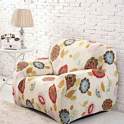 yazi Sunflower Washable Sofa Cover Elastic 1-Seater Couch Stretch Settee Slipcover, One-seater + Pillowcase Mother's Day Gift