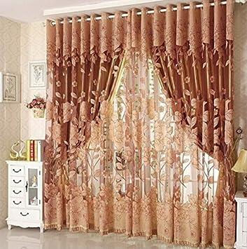 Diossad Transparent Gardinen Braun Vorhang Gardine Fenster Mit Blatt Muster Fr Wohnzimmer Schlafzimmer Blume