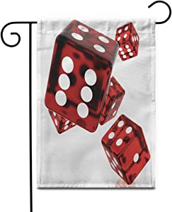 """Awowee 28""""x40"""" Garden Flag Green Casino 3D Red Rolling Dice on Game Board Outdoor Home Decor Double Sided Yard Flags Banner for Patio Lawn"""