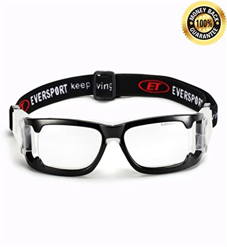 0e3780b920e7 EVERSPORT Sports Goggles Protective Basketball Glasses Safety Goggles for  Adults with Adjustable Strap for Basketball Football