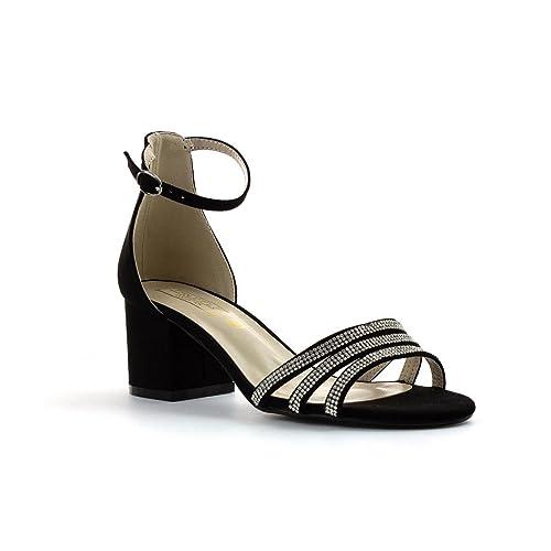 1e491a908 Truffle Womens Black Block Heel Open Court Sandal - Size 3 UK - Black