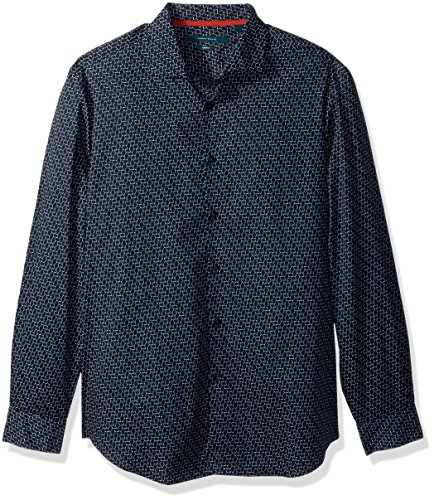 Perry Ellis Men's Long Sleeve Modern Geo Print Shirt , Eclipse-4CSW7004, Extra Large