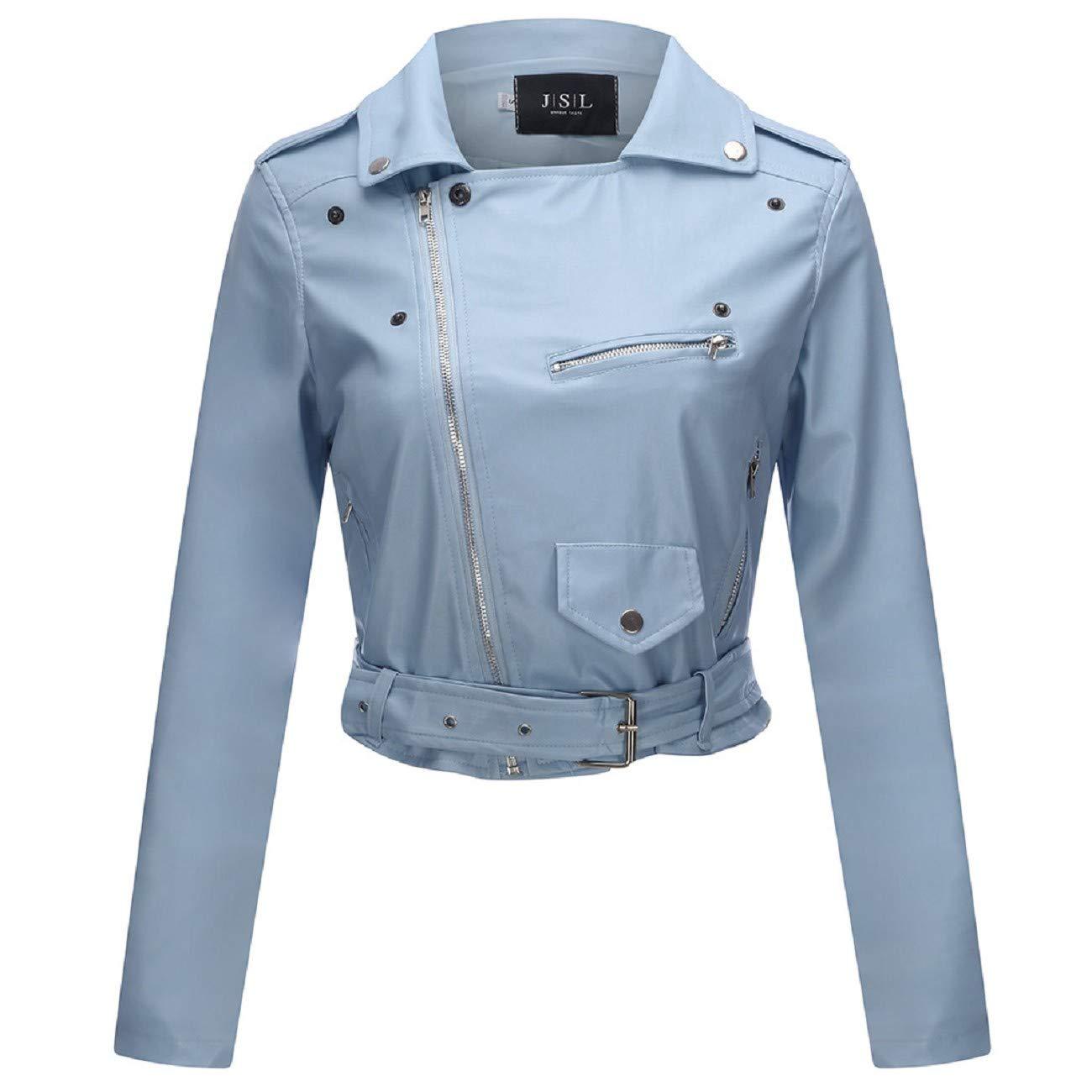 Tsmile Women Oblique Zipper Motorcycle Jacket Plus Size Street Faux Leather Lapel Pocket Belt Gothic Punk Coat Tops