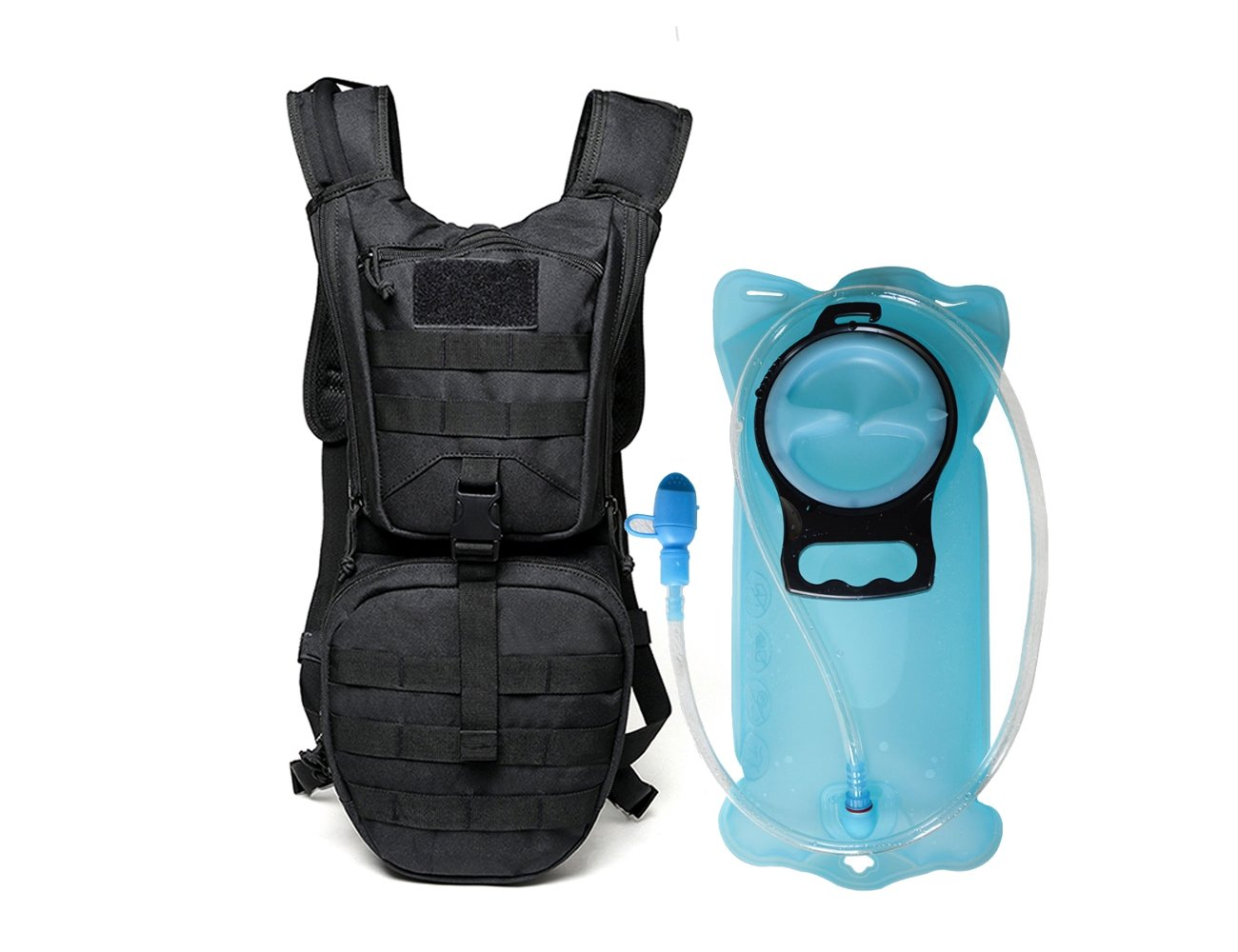 Black Ponixa Molle Hydration Backpack with 3L TPU Water Bladder Climbing Biking Hunting Hiking Running for Cycling