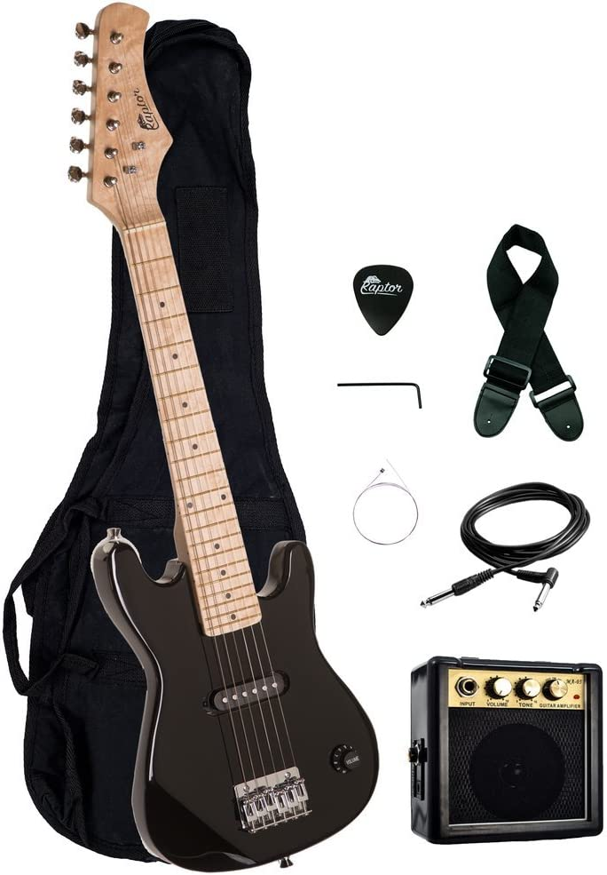 Strap Cable and Raptor Picks Raptor EP3 30 Kids 1//2 Size Electric Guitar Package with Portable 3W Amp Gig Bag BLACK