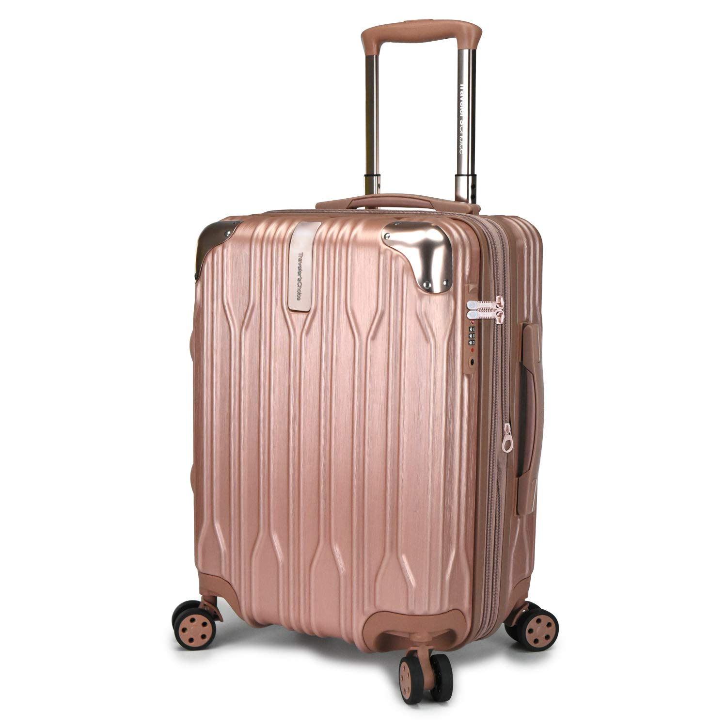 Traveler s Choice Bell Weather Expandable 20 Spinner Luggage, Rose Gold