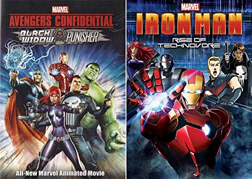 Marvel's Avengers Animated Movie MANIA- Iron Man: Rise of Technovore & Punisher: Avengers Confidential 2-DVD Collection