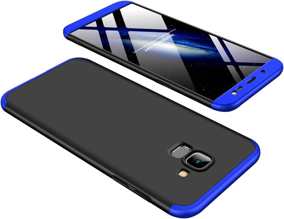 Karomenic 360 degr/é Protection Compl/ète Coque pour Samsung Galaxy J6 2018 et Protecteur D/écran en Verre Tremp/é 3 en 1 PC Mati/ère Dur Rigide Housse Full Body Avant et Arri/ère Etui Case Bumper,Noir
