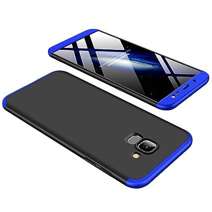 super popular e5059 988de E-COSMOS 360 Degree Anti Slip Super Slim Back Cover for Samsung J6 (Blue  and Black)