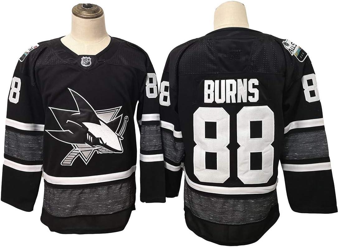 Gmjay Burns # 88 Hockey Jersey San Jose Sharks Hockey Negro Cosido Letras N/úmeros NHL Camiseta de Manga Larga