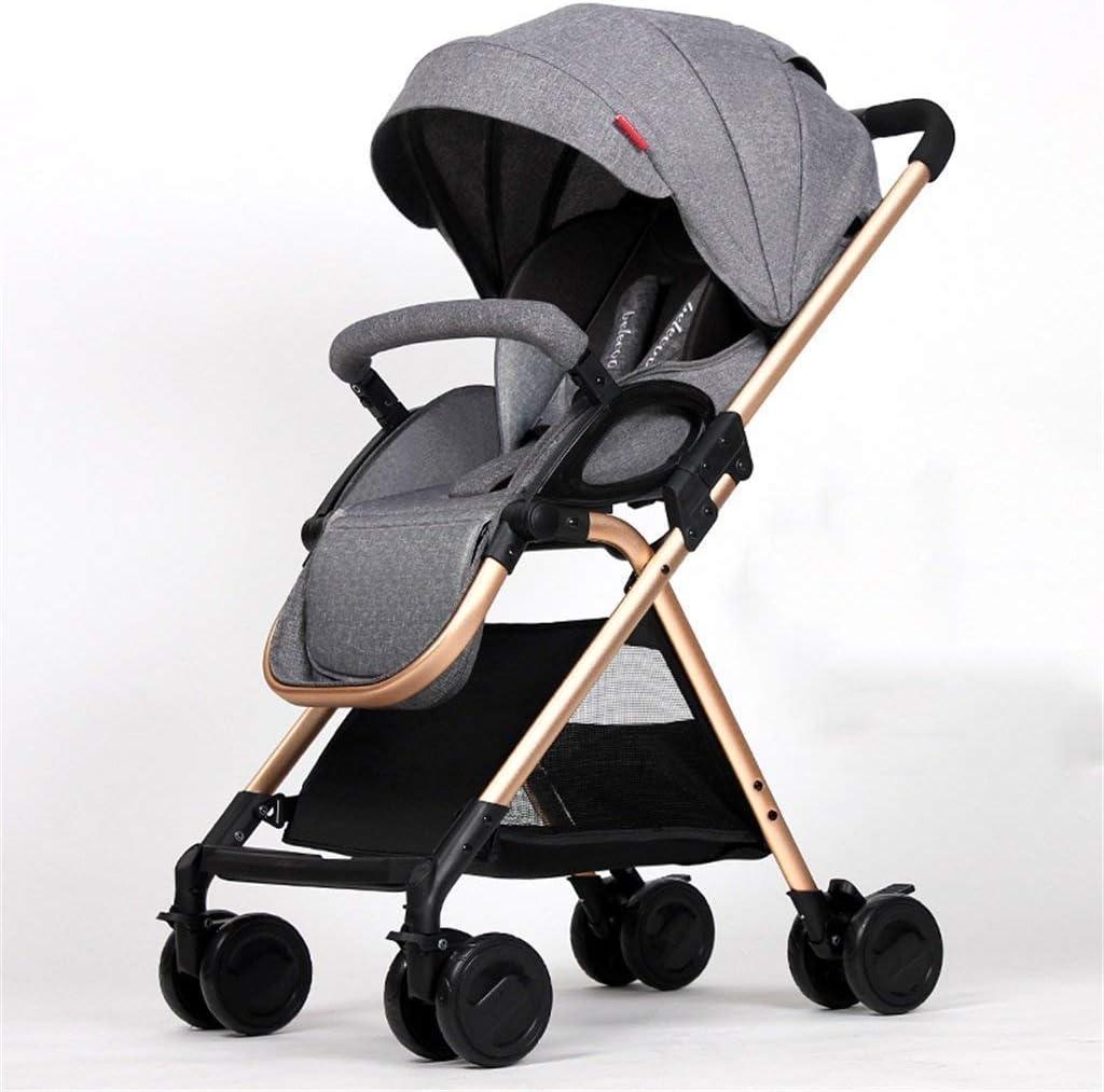 ベビーカー赤ちゃんの四輪トロリーオーニング自転車赤ちゃんトロリー新生児ベビーカー折りたたみ可能な缶に座ると、1月のための嘘ダウンダンピングベビーカート-3歳