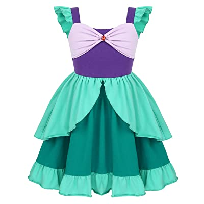 inhzoy Green Mermaid Dress Up Costume for Girls Princess Cosplay Theme Dress for Christmas Carnival Party: Clothing