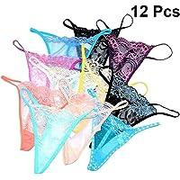 FENICAL 12Pcs Tongs for Women Cotton G-String Women's Panties Simple String Thongs T-shaped Briefs Women Underpants Underwears (Random Color)