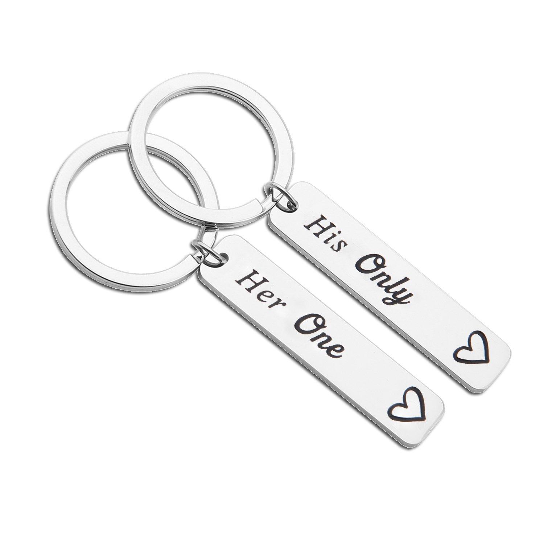 MYOSPARK His Only Her One Couple Keychains Wedding Gift Boyfriend & Girlfriend Long Distance Keychains (Keychain)