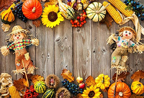 AOFOTO 7x5ft Scarecrow Corns Pumpkin Backdrop Autumn Harvest Scene Fruits Crops Fall Leaves on Wooden Board American Festival Holiday Thanksgiving Photo Booth Background Photo Studio Props -