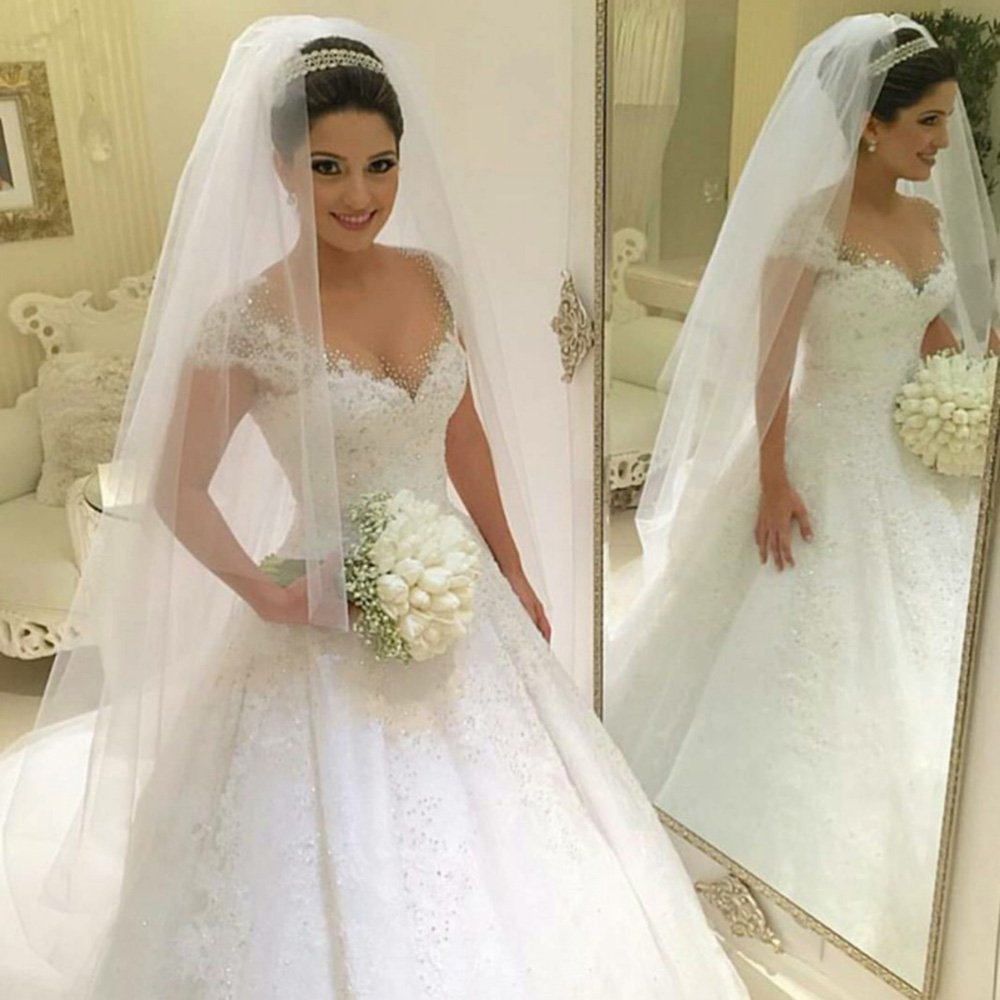 Lovelybride Romantic Cap Sleeve Appliques Beaded Wedding Ball Gown Dress at Amazon Womens Clothing store: