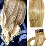Myfashionhair Clip in Hair Extensions Real Human Hair Extensions 15 inches 70g Clip on for Fine Hair Full Head 7 pieces Silky Straight Weft Remy Hair (15 inches, 27-613)