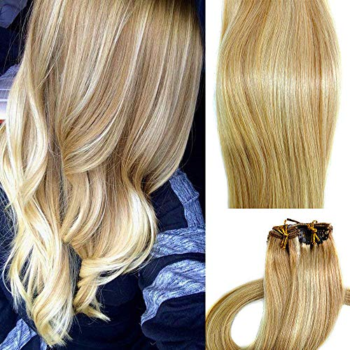 Myfashionhair Clip in Hair Extensions Real Human Hair Extensions 15 inches 70g Clip on for Fine Hair Full Head 7 pieces Silky Straight Weft Remy Hair (15 inches, 27-613) -