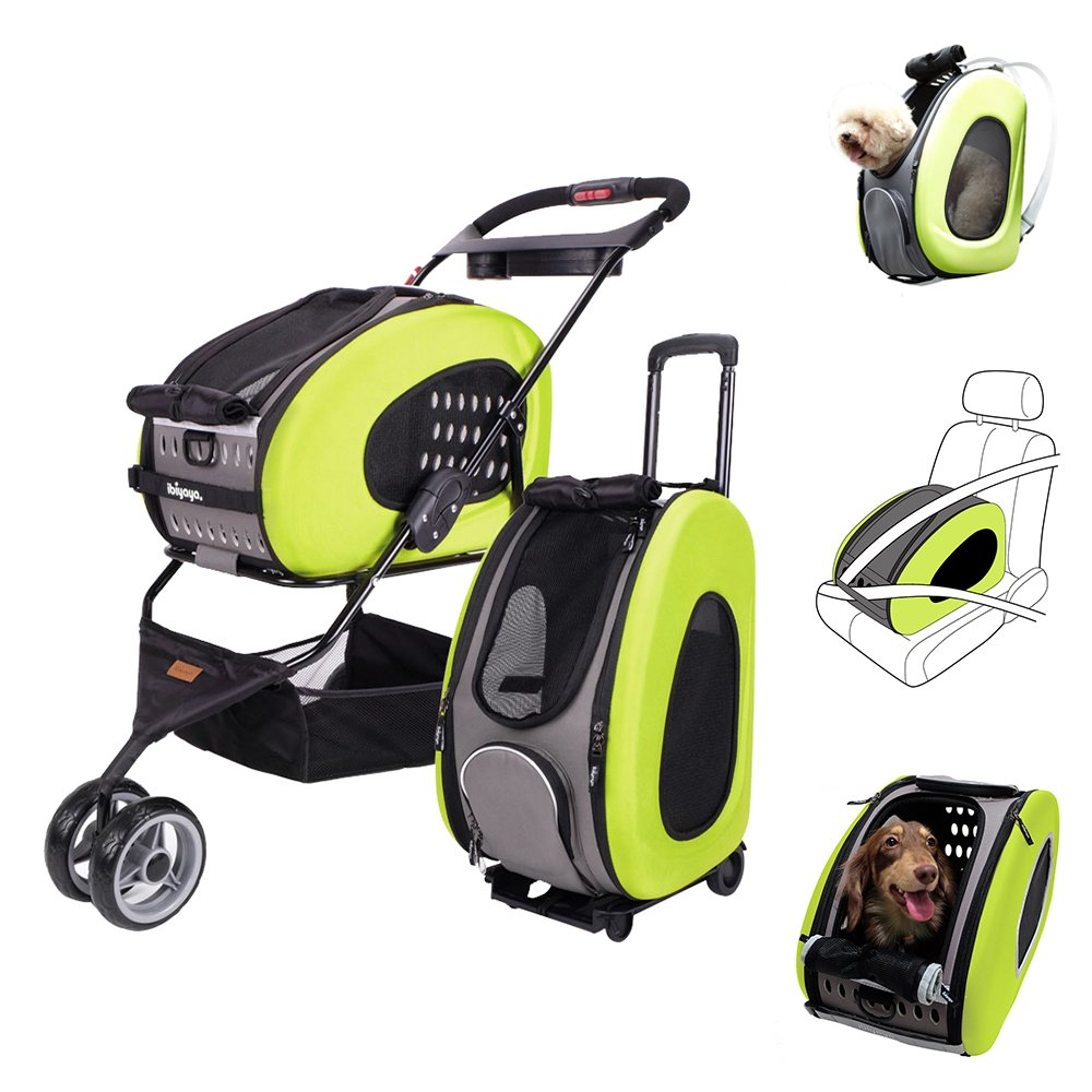 MULTIFUNCTION Pet Carrier + Backpack + CarSeat + Pet Carrier Stroller + Carriers with Wheels for dogs and cats ALL IN ONE (5-in-1 Green)