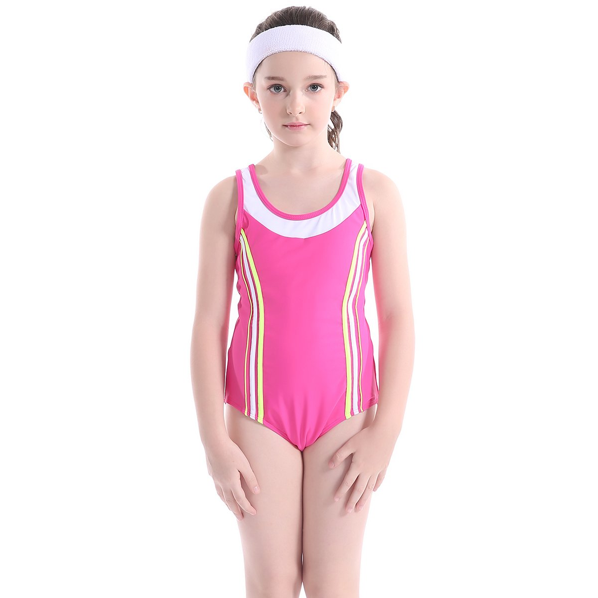 TenMet Girl's Athletic One Piece Sport Swimsuit Professional Competitive Swimwear Training Surfing Swimming Racer Back