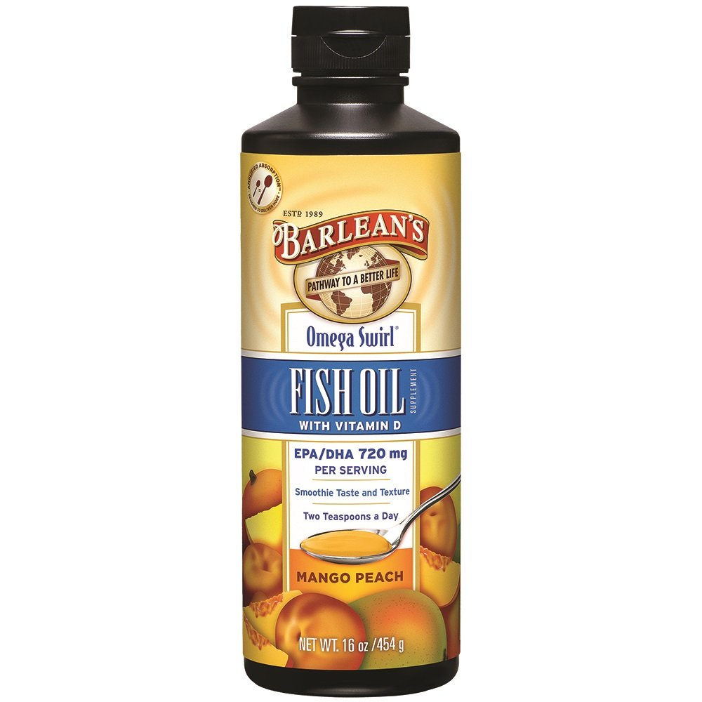 Barlean's Omega Swirl Fish Oil, Mango Peach, 16-oz