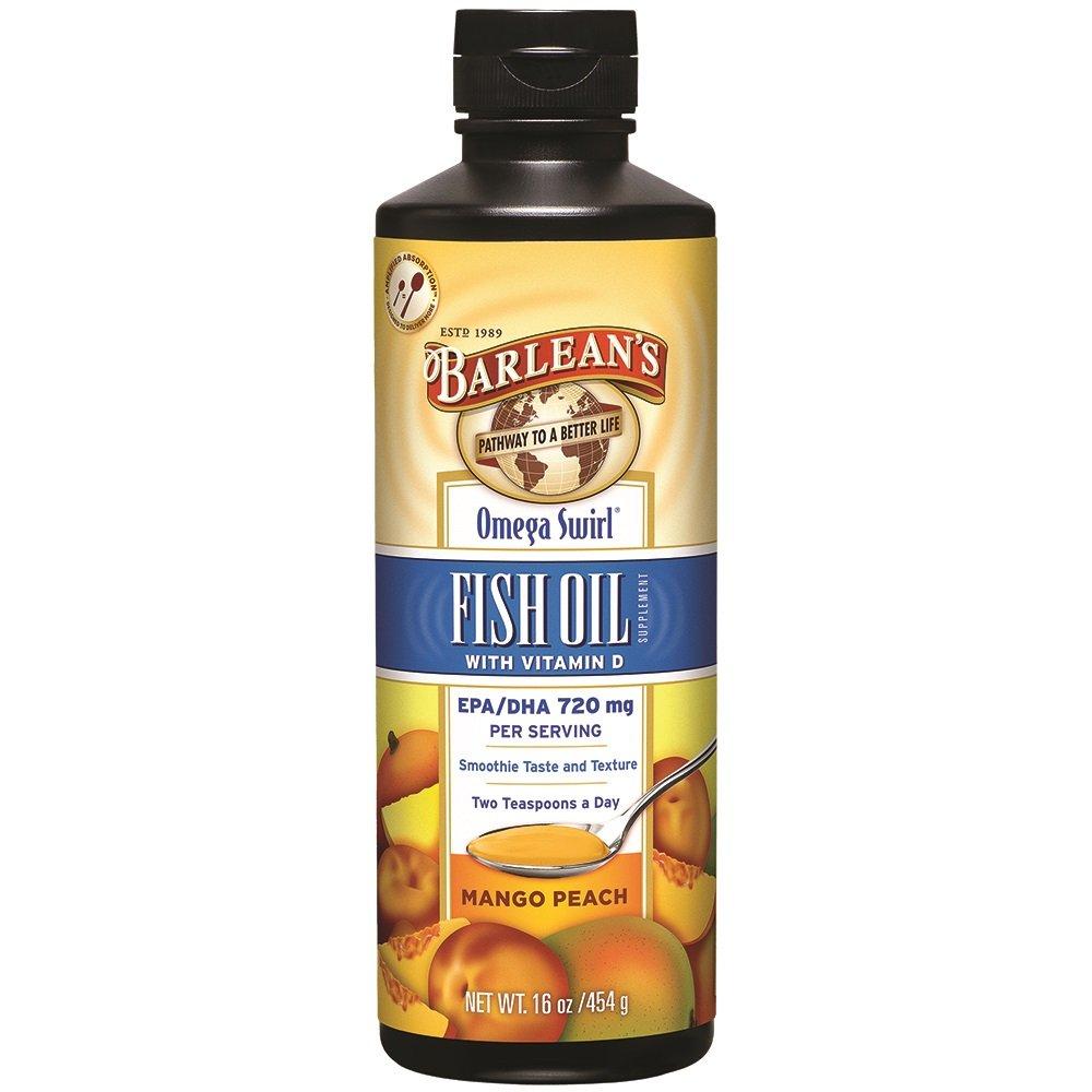 Barlean's Omega Swirl Fish Oil, Mango Peach, 16-oz