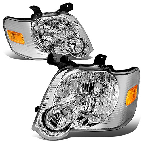 Ford Explorer Chrome Headlight - For Ford Explorer/Sport Trac U251 Pair of Chrome Housing Amber Corner Headlight