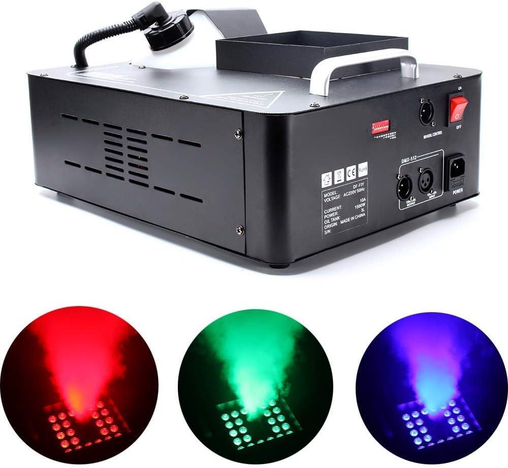 UKing Smoke Machine Máquina de humo DMX Control Remoto con luz LED RGB 1500 W Máquina de niebla para fiestas Club Halloween boda Theater