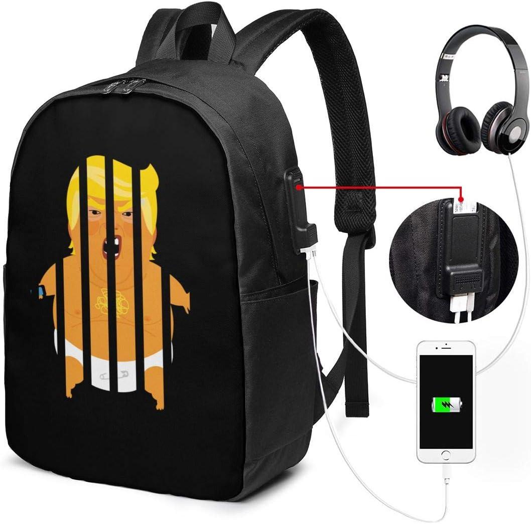 Trump Baby Blimp Jail Impeach Prison Unisex Packsack College School Backpack USB Laptop Bag 17in